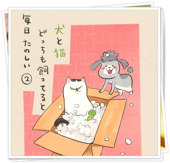 犬と猫どっちも飼ってると毎日が楽しいのあるあるが面白いの感想が! 2巻表紙